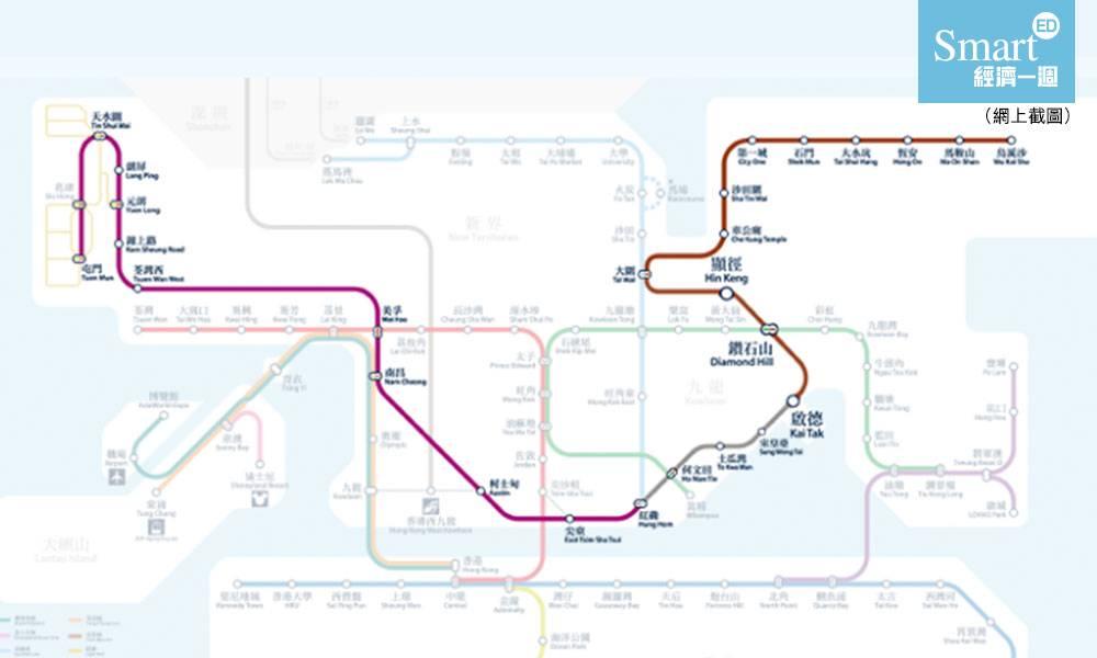 屯馬線 一期2月14日 通車 鑽石山 去 啟德 站只需9分鐘 繁忙時間 最快3.5分鐘一班車