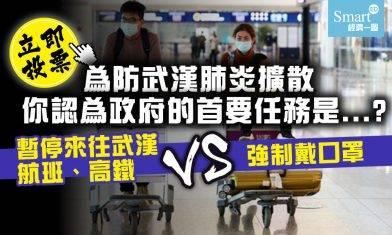 【投票】你認為政府為預防武漢肺炎在本港擴散的首要任務是甚麼?