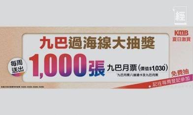 「九巴過海路線大抽獎」下週一起每週送出1,000張月票連八達通卡 附登記教學、登記連結