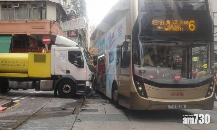 深水埗洗街車撞巴士  23人受傷