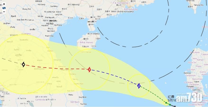 「紅霞」明早進入港800公里範圍 天文台屆時考慮發1號波