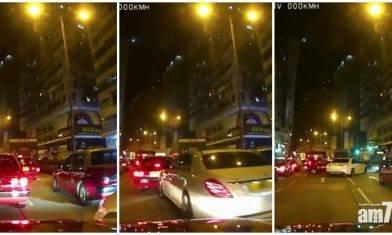 【車Cam片曝光】中槍司機疑急往醫院保命 平治響按狂撼前方的士