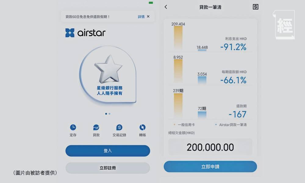 天星銀行airstar「全民放假」 推出「貸款一筆清」實際年利率最低2.99厘