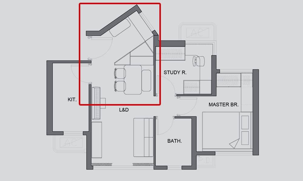 【裝修設計】489呎兩房單位變和風部屋 訂造三角形櫃補救不規則「裝修奇則」