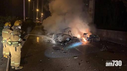 廣州Tesla撞水泥花槽起火 男乘客死亡