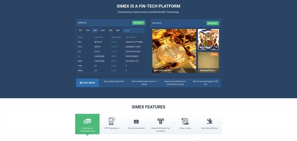 一個俄羅斯的虛擬貨幣交易平台同樣名為「Simex」,但與這個平台有關的中文和英文資訊欠奉。(Simex網頁截圖)