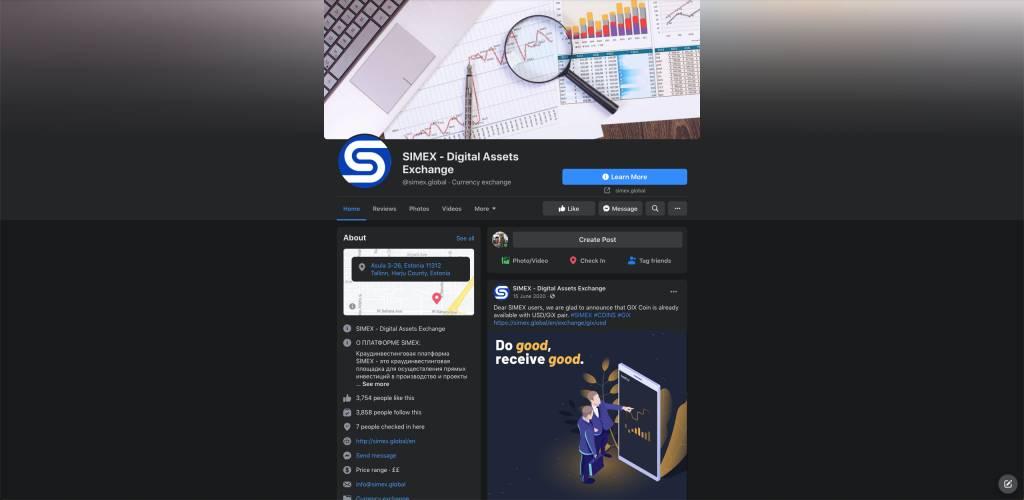 「Simex」的Facebook專頁內容為俄文,全名為「SIMEX - Digital Assets Exchange」。(fb截圖)