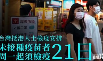 新冠肺炎|港府收緊台灣抵港者檢疫安排 未接種疫苗者周一起須檢疫21日