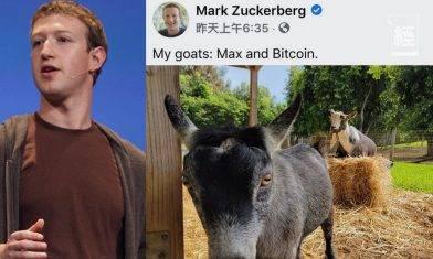 【萬眾期待】朱克伯格入幣圈 借寵物名字宣布已買入比特幣 還順勢推出「山羊幣」?