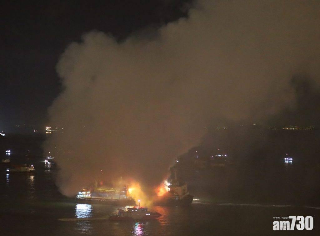 昂船洲有金屬癈料船起火  焚燒12小時仍未救熄