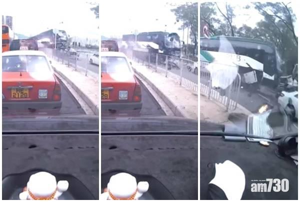 沙田校巴與私家車相撞 衝落單車徑至少11人受傷