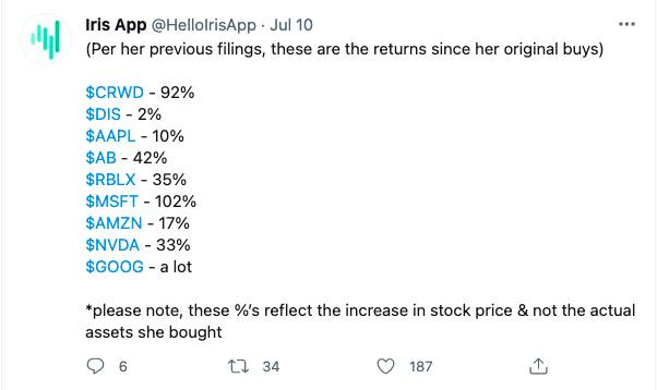 投資平台「Iris App」在Twitter上,貼出佩洛西部分持倉。(圖片來源:Iris App Twitter截圖)