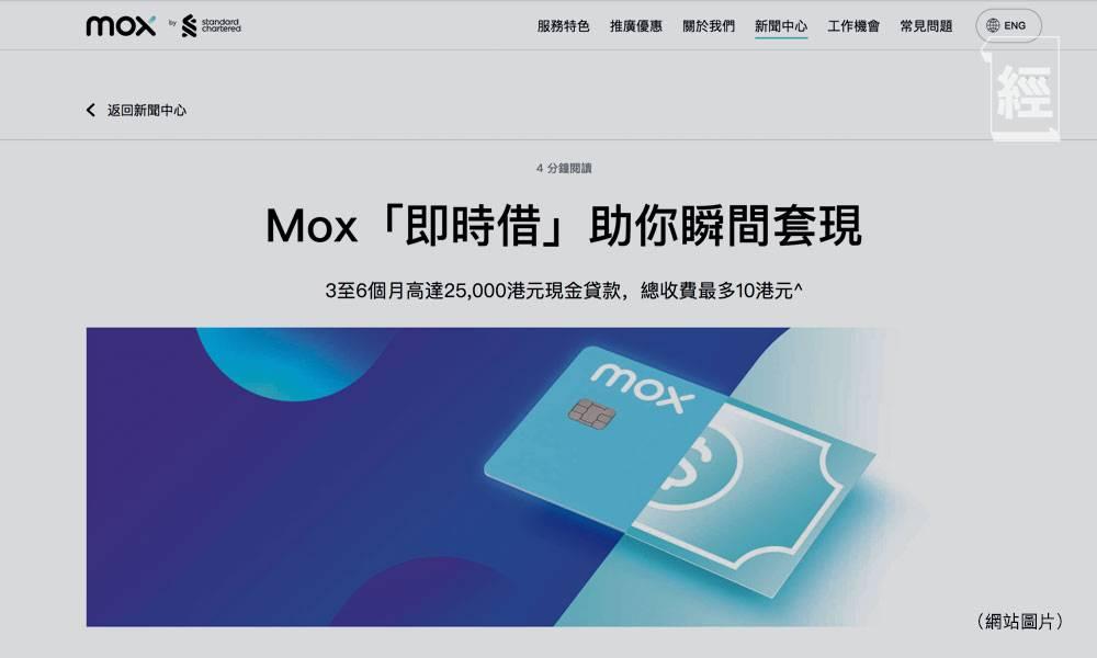 虛擬銀行優惠|Mox Credit推套現服務 借2.5萬收費10元